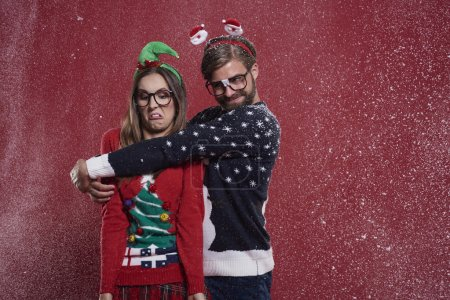 Insane couple with funny cardigans