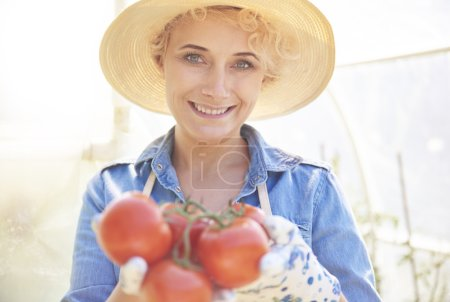 woman at her own vegetable garden