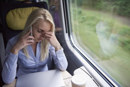 Blonde woman in the train