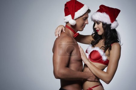 Christmas couple in red underwear