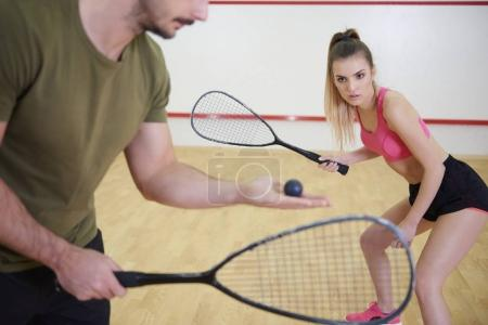 Squash players are in training for squash game