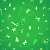 Green background and Christmas ornaments vector