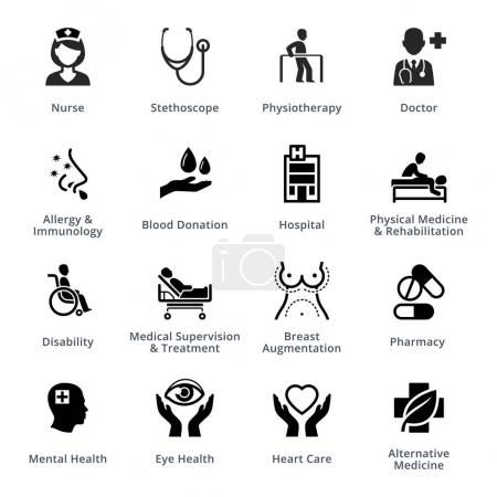 Illustration for 16 medical specialties icons, perfect for presentations, web design, mobile apps or any of your design projects. - Royalty Free Image