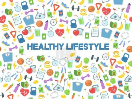 Illustration for Healthy lifestyle vector illustration. Fitness, nutrition and health. - Royalty Free Image