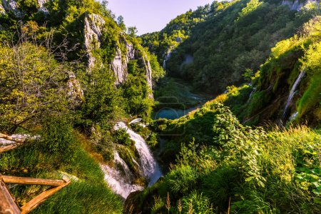 July 21, 2016: Waterfalls of the Plitvice Lakes National Park, Croatia