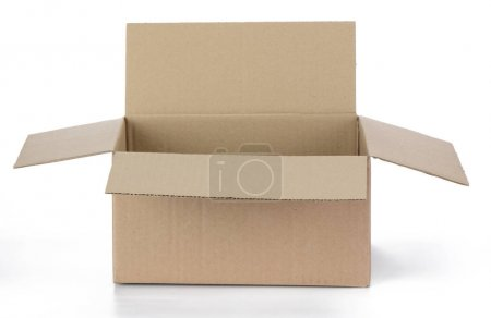 Photo for Open cardboard box on a white background - Royalty Free Image