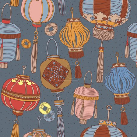Illustration pour Lanternes chinoises motif sans couture. Vecteur . - image libre de droit