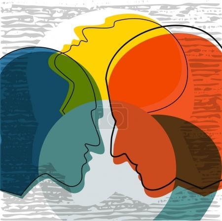 Illustration for Schizophrenia concept, symbol of depresion, dementia. Vector ilustration. - Royalty Free Image