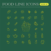 Set of food and drinks icons for restaurant grocery store comm