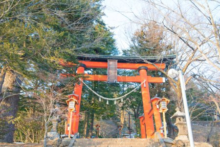 FUJIYOSHIDA, JAPAN - January 27, 2016  : Arakurayama Sengen Park at Fujiyoshida,Japan.The location to see