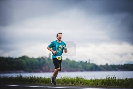 Man Marathoner at about 7km of distance