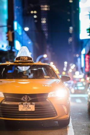 Details of Yellow Cab near Times Square at Night