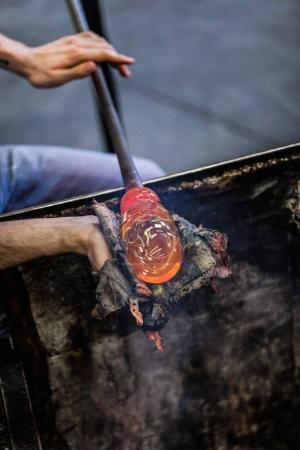 Man Working on a Blown Glass Piece
