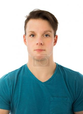 Photo pour No Emotion Portrait d'un homme et d'une femme mélangés pour illustrer un concept transgenre isolé sur fond blanc - image libre de droit