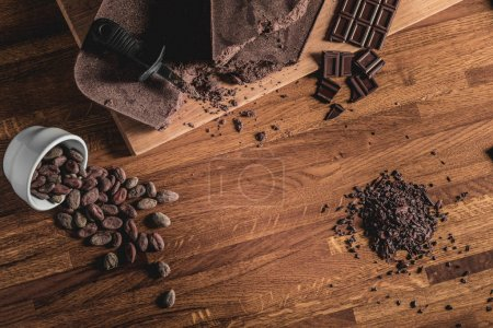 Sweet Table Top View arrangement of Cocoa beans, n...