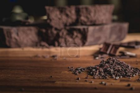 Sweet arrangement of cocoa beans and chocolate bar...
