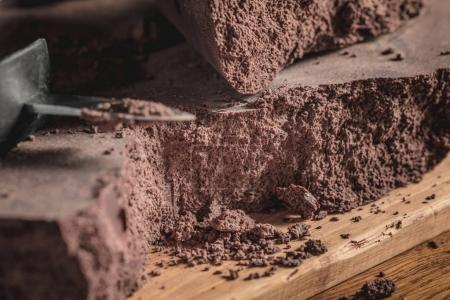 Close-up of Big Chocolate Block and knife.