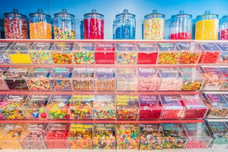 Montreal, Canada - November 28, 2017: Interior of Sucre Bleu Commerce on St-Denis Street which is a Well Known Candy Shop in Montreal