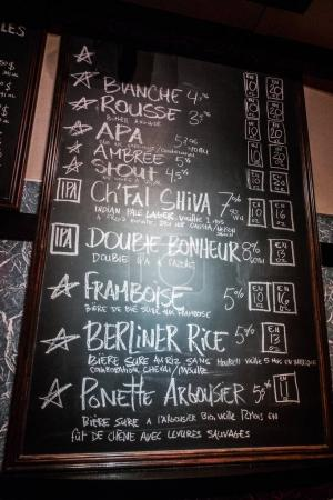 Montreal, Canad - November 28, 2017: Pit Caribou Micro Brewery Chalk Menu of the day with Sizes, Types and Beer Styles.