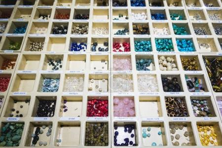 Montreal, Canada - November 29, 2017: Gemstones and Semi Precious Stones Display in Pierre d'Ailleurs Shop on St-Denis Street in Montreal.