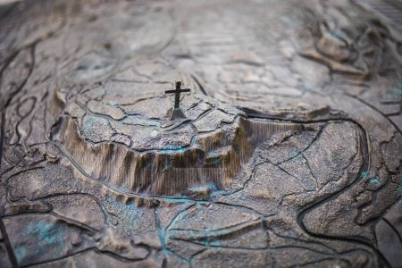 Montreal, Canada - November 30, 2017: Close-up of Mount Royal 3D Map made out of Bronze. The Sculpture is on Park Street.