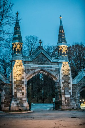 Historic Mount Royal Cemetery Entrance Gate during a Cold Evenin