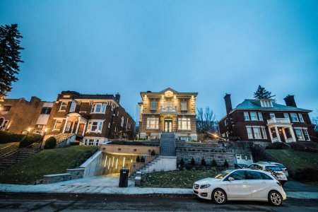 Montreal, Canada - November 30, 2017: Big House with Underground Garage on Maplewood Street in a Wealthy Neighborhood of Montreal.