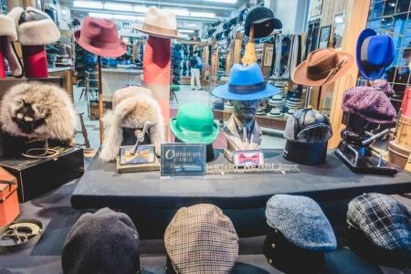 Montreal, Canada - December 3, 2017: In 1932, Henri Henri was founded as a family business by Mr. Honorius Henri and Mr. Jean-Maurice Lefebvre. Since its foundation it has specialized in hat for men.