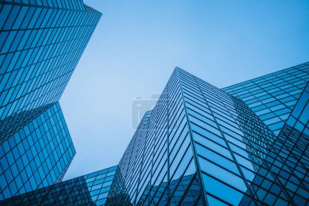 Photo for Abstract and Complex Blue Skyscraper Structure Downtown in Montreal with Sky in Background - Royalty Free Image