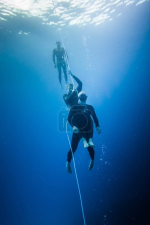 SAN ANDRES ISLAND, Colombia - Circa March 2017: Freediving Rescue Technique and Simulation of a Diver after Blackout.