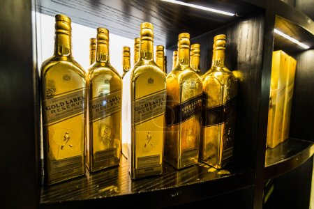 SAN ANDRES ISLAND, Colombia - Circa March 2017: Johnnie Walker Gold Label and Bottle Display at San Andres Airport