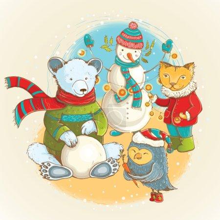 Illustration pour Illustration de dessin animé de sculpteur de bonhomme de neige en hiver avec des animaux drôles. Carte de Noël vectorielle mignonne avec des personnages drôles . - image libre de droit