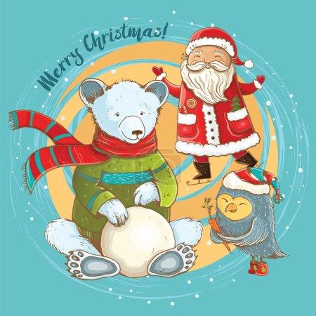 Illustration pour Illustration de bande dessinée de sculpteur de bonhomme de neige en hiver avec Père Noël joyeux, ours et hibou. Carte de Noël vectorielle mignonne avec des personnages drôles . - image libre de droit