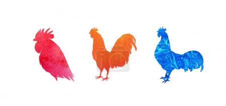 Set of watercolor roosters