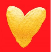 Vector shining gold heart Watercolor texture brush strokes isolated on red Abstract hand painted golden background