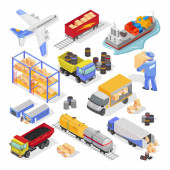 Big vector isometric set with types and stages of delivery logistics for infographics web design