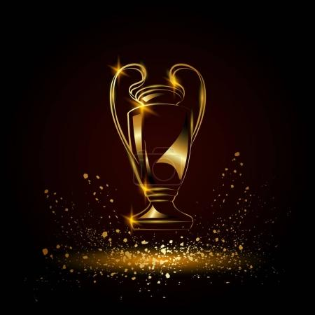 Champions Cup. Golden Soccer trophy....