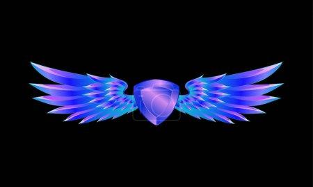 Bouclier bleu héraldique avec des ailes emblème sur un fond noir. Armoiries d'or .