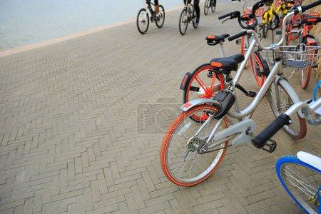 mountain bikes at parking lot