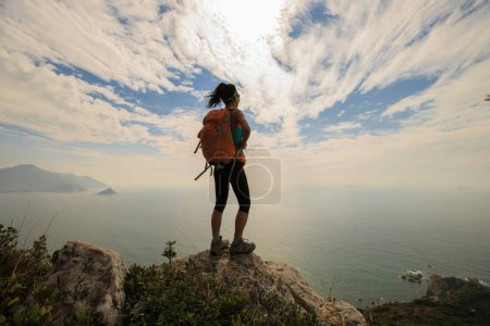 hiker standing on mountain peak