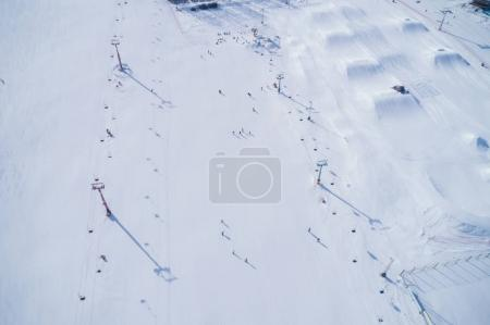 Aerial view of the skiing