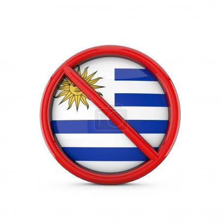 Photo pour Drapeau de l'Uruguay interdit aucun symbole d'entrée. Rendu 3D - image libre de droit