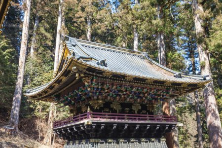 Closed up Toshogu shrine in Nikko, Japan. The shrine holds the m