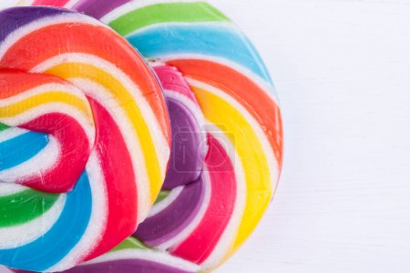 Photo for Lollipops candies on a white background - Royalty Free Image