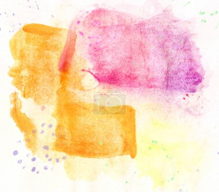 Photo for Hand drawn watercolor pink yellow background - Royalty Free Image