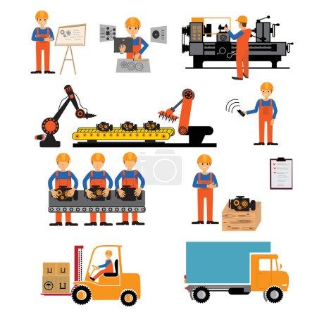 Illustration pour Illustration de \vector usine production processus - image libre de droit