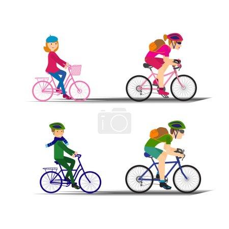 people on bikes set