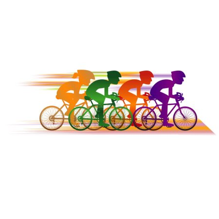 colorful cyclists banner