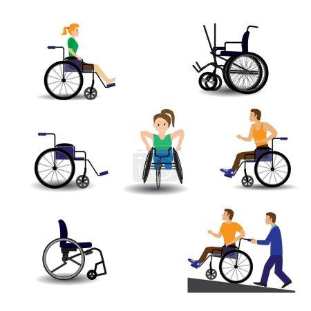 Illustration pour Ensemble de fauteuils roulants différents, illustration vectorielle - image libre de droit