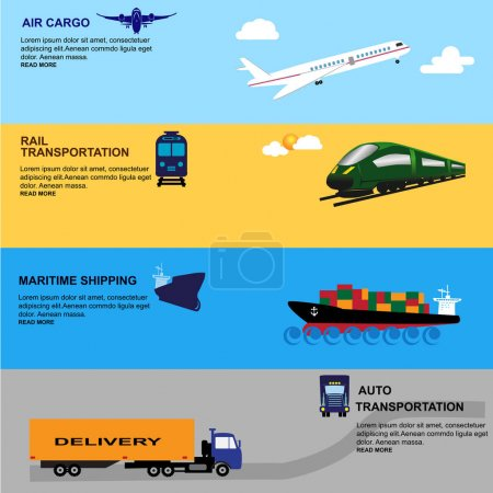 Illustration for Global logistics network Concept of air cargo trucking rail transportation maritime shipping customs clearance Documentary support and international trade consulting for clients Vector illustration - Royalty Free Image